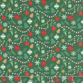 Christmas Traditions - Ornaments Dark Green Yardage