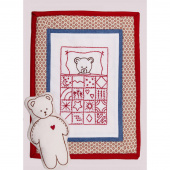 Teddy Bear Doll Quilt Redwork Embroidery Kit
