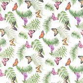 Orchids in Bloom - Ferns and Butterflies White Multi Digitally Printed Yardage