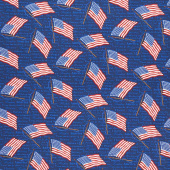 Land of the Free - Tossed Flags Blue Yardage