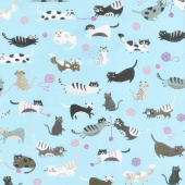 Whiskers & Tails - Cats Yarn Blue Digitally Printed Yardage