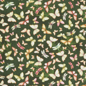 Peony Dance - Butterflies and Dragonflies Spruce Digitally Printed Yardage