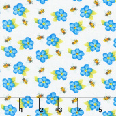 Sunny Sunflowers - Tossed Bees and Flowers Multi Yardage