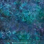 Malam Batiks IV - Water Floppy Floral Blue Yardage