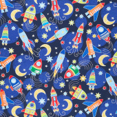 All Systems Glow - Space Voyage Navy Glow in the Dark Yardage