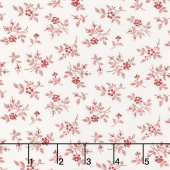 My Redwork Garden - Flirty Fleurs Cream Red Yardage