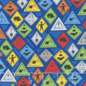 Detour Ahead! - Road Signs Blue Yardage