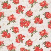 Garden Rose - Red Roses on Ancient Text Cream Yardage