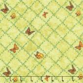 Renaissance - Butterfly Trellis Green Yardage