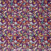 Small Wonders - World Piece Brazil Packed Birds Purple Yardage