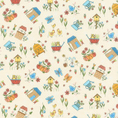 Backyard Happenings - Allover Novelty Cream Yardage