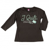 I Quilt What's Your Superpower Small Women's Fitted V-Neck 3/4 Sleeve T-Shirt - Charcoal