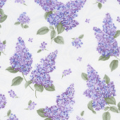 Lilacs in Bloom - Lilacs and Wave White Yardage