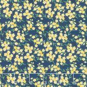 Madison - Tiny Yellow Floral Blue Yardage