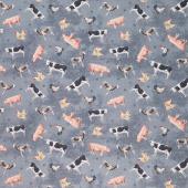 Farmhouse Chic - Animals Gray Blue Yardage