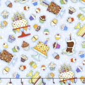 Let's Celebrate - Cakes & Cupcakes Light Blue Yardage