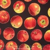 Autumn Bounty - Tossed Apples Black Metallic Yardage