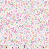 I Believe in Pink - Flowers & Ribbons White Yardage