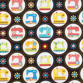 Sew Excited - Sewing Machine Fun Black Yardage