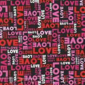 Big Love - Words Black/Pink Yardage