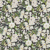 Bouquet - Packed Floral Black Multi Digitally Printed Yardage