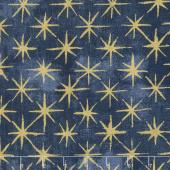 Grunge Seeing Stars - Navy Metallic Yardage