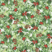 A Poinsettia Winter - Holly Berries Red Green Yardage
