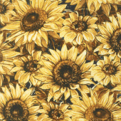 A Bee's Life - Sunflowers Black/Gray Yardage