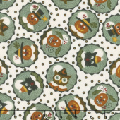 Happy Jacks & Friends - Happy Circles Cream Flannel Yardage