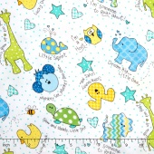 Little One Flannel Too ! - Tossed Little Ones Blue Yardage