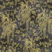 Imperial Collection 15 - Spring Flowers and Vines Black Metallic Yardage