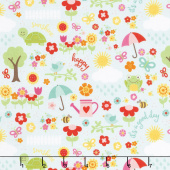 Bloom Where You're Planted - April Showers Aqua Yardage