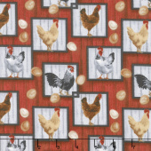 Country Paradise - Chickens Red Yardage