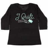 I Quilt What's Your Superpower Vintage Smoke Women's Fitted V-Neck 3/4 Sleeve T-Shirt - Large