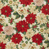 Holiday Lane - Large Floral Tan Yardage