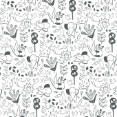 Dream - Animal Outline White Charcoal Yardage