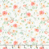 Gingham Gardens - Floral Cream Yardage