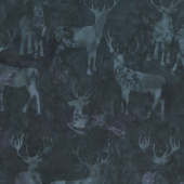 Snowberry Batiks - Deer Grouping Blackberry Yardage