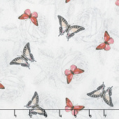Le Bouquet - Butterflies Gray Yardage
