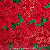 Holiday - Packed Poinsettia Red Metallic Yardage