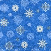 Arctic Wonderland - Snowflake Toss Dark Blue Yardage