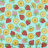 Lil' Sprout Too! - Strawberries n' Lemons Teal Flannel Yardage