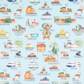 Hungry Animal Alphabet - Soup Blue Digitally Printed Yardage