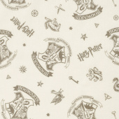 Wizarding World - Harry Potter Tossed Assets in Cream Yardage