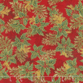 Holiday Flourish 11 - Holiday Branches Crimson Metallic Yardage