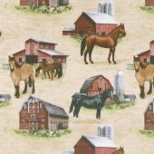 Country Paradise - Horses Ecru Yardage