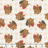 Timber Gnomies - Tossed Beavers Cream Yardage