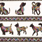 Dog On It - Dog Walk White Multi Metallic Yardage