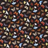 Animals - Tossed Butterflies Black Yardage