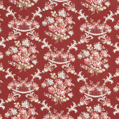 Rhapsody in Reds - Floral Damask Red Yardage